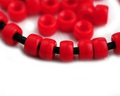 50pc Pony beads, Opaque Red Czech glass Roller beads, 2mm large hole, round spacer beads - 6mm - 1511