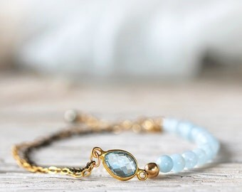 Blue Topaz Bracelet - Dainty Bracelet for Her - Topaz and Aquamarine Bracelet - Blue Topaz Jewelry - November / March Birthstone