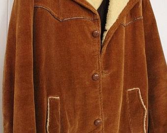 Mens Corduroy Coat - Brown Corduroy Jacket  - Vintage Winter Coat - Sherpa Collar - Quilted - Button Up - Envoy - Medium