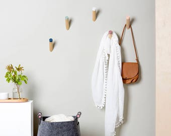 Entryway wall hooks, wall hooks, coat hooks, wood coat rack hooks, kids coat hooks, wall hook, coat hook, wall pegs,  WH-07