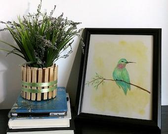 Green Hummingbird Art Print - Happy Bird - Green Bird - Annas Hummingbird - Green and Yellow - Kids Room Decor - Nursery Decor - Watercolor
