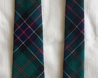 Vintage 1950s 60s Mac Ties of Scotland Green Red Blue Wool Plaid Hunting Sinclair Skinny Tie