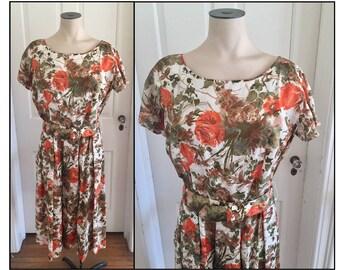 Vintage 1960s Misses' Short Sleeve Orange Brown Floral Dress Flower Belt 8 10