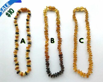 """FLASH SALE - GENUINE Baltic Amber Baby/Toddler Teething Necklace - Butterscotch, Lemon, Honey, Cognac & Cherry Baltic Amber Beads- (12-13"""")"""