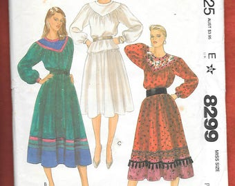 "Vintage 1980's McCall's 8299 Misses Skirt And Top, Peasant Style With ""V"" Yoke , Gathered Raglan Sleeves, Gathered Skirt, Size 6-8, UNCUT"