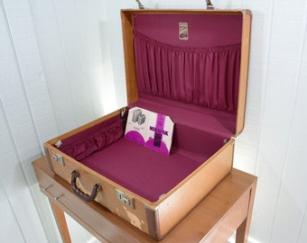 1940's Langmuir Miralite Wooden Hard Side Brown Suitcase with Purple Silk Lined Interior - Made in Oshawa Canada