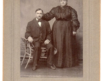 Allentown Pennsylvania Victorian Couple Studio Portrait Antique Photograph Black And White Cabinet Card Photo