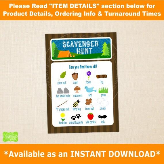 Camping Scavenger Hunt Printable Card