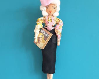 Textile 1940s Femme Fatale, OOAK, Handmade, Textile Art Doll.....