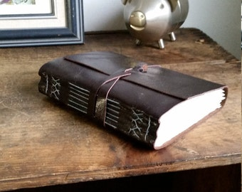 Handmade Leather Journal, Dark Brown Hand-Bound 4.75 x 6 Journal by The Orange Windmill on Etsy 1741