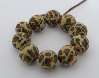 Beads, Leopard print beads, Animal print beads, brown, gold, DIY crafts beads, beads supplies, clay beads, unique beads, round beads. 10 pcs