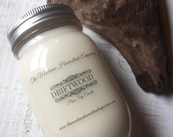 Driftwood scented all natural soy candle woodsy scent pure soy candles for men rustic scented candle lake house decor Montana candles