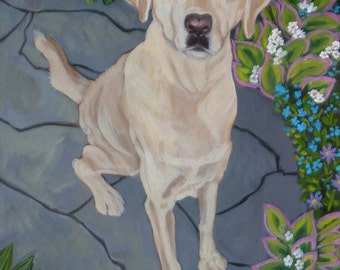 Labrador with Tennis Ball - 24x36 Large Colorful Modern ORIGINAL Acrylic by Carrie Tasman