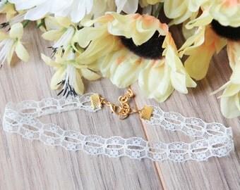 White lace eyelet choker necklace | Dainty choker | Delicate choker | Classic choker | Romantic choker | Bohemian boho festival jewelry |