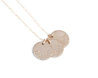 Gold Three Name Mommy Charm Necklace - Gold Filled Disc Mothers Jewelry