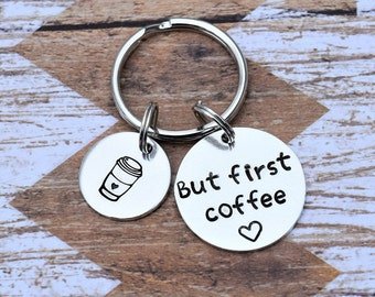 But first coffee keychain.  Coffee addict keychain gift. I love coffee keychain.  Gifts for her.