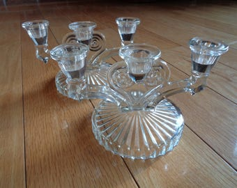 2 Retro Art Deco Stamped Pressed Clear Glass Candelabra for three candles in Mint Condition for a formal table setting or casual buffet