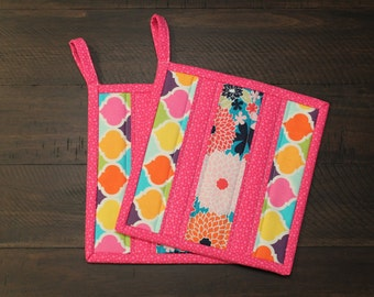 Pink Potholder Set, Kitchen Hot Pads, Quilted Pot Holder, Orange, Blue, Green, Yellow, Purple, fabric trivet, insulated, gift