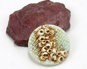 StudioStJames-Rustic Handcrafted Clay Focal Pendant-32mm Textured Cabochon-Mint Green Brown Ivory-Jewelry Supplies-PA 100251