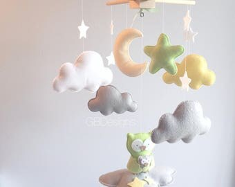 Baby mobile - owl mobile - mom and baby mobile - baby mobile owl - neutral mobile