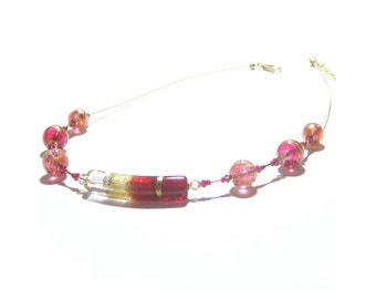Murano Glass Ruby Red Pink Gold Tube Necklace, Venetian Necklace, Lampwork Glass Necklace, Gifts For Her, Italian Jewelry, Illusion Necklace