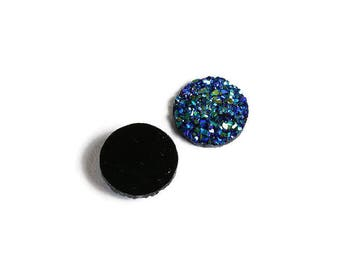12mm Blue green yellow round resin cabochon - Faux druzy cabochon - Faux drusy cabochon - Textured cabochon (1859) - Flat rate shipping