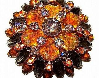 "Cluster Brooch Beau Jewels Smoke Yellow AB Rhinestones 4 Layers Gold Metal 2.5"" Vintage"