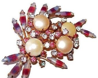 "Beau Jewels Brooch Pink & Blue Givre Rhinestones Faux Pearls Gold Metal 3"" Vintage"