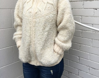 vintage super chunky astrakhan knit sweater coat cream wool boucle- 80s
