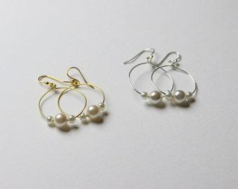 CLEARANCE Pearl Hoop Earrings BL09