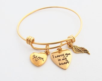 Memorial Jewelry, Sympathy Gift Mother, Gold SYMPATHY BRACELET, Mixed metal Jewelry, Mom Remembrance Bracelet, I carry you in my heart