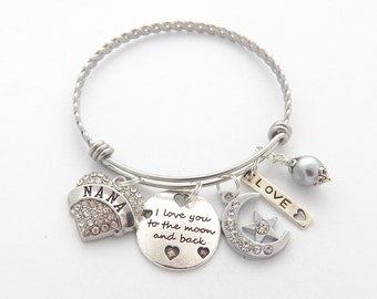 NANA Gift, Personalized I love you to the moon and back, Gifts for Nana, Nana Bracelet, Moon and Star Bracelet, Mothers Day Gift, Grandma