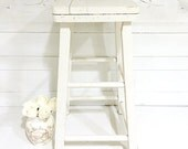 Vintage Wooden White Stool Shabby Chic Cottage Farmhouse