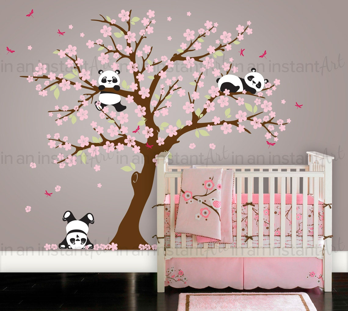Tree wall art cherry blossom with birds wall decal tree wall cherry blossom wall decal playful pandas in cherry blossom wall decals cherry blossom amipublicfo Image collections