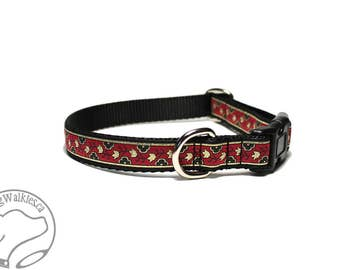 "Mini Magic Carpet Dog Collar - 3/4"" (19mm) Wide - Martingale or Side Click Buckle - Choice of collar style and size // Red // Gold // Black"