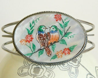 Beautiful Colourful Etched Mother of Pearl Cuff Bracelet w/ Birds on a Branch & Flowers- Garden Chic Spring Summer Red Orange Silver Tone