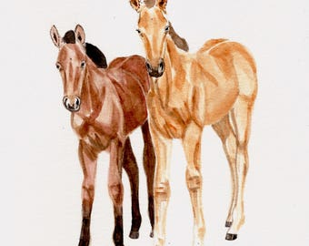 Horses, 8x10 PRINT from original watercolor painting, art &  collectibles, home decor, wall art, animals, earthspalette