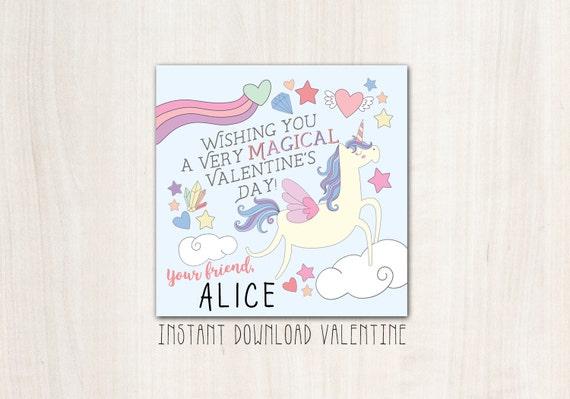 Unicorn Magical Valentines - DIY Print - INSTANT DOWNLOAD
