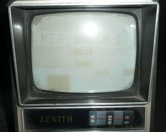 Vintage 1970's Black and White AC/DC 12'' Portable Television