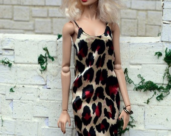 Animal-print Satin Midi Slip Dress for Fashion Royalty fashion dolls (2013 and newer bodies, formerly FR Squared)