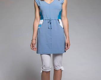 Sleeveless tunic with V-neck and patchwork - Blue tunic - 4 seasons tunic - made in Quebec - Ecodesigner