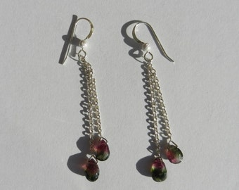 Natural Untreated Watermelon Tourmaline Earrings 925 Sterling Silver