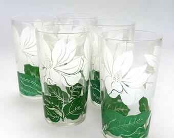 Set of 5 Vintage Magnolia Glasses