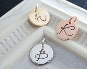 Initial Charm Initial Pendant Hammered Silver pendant Personalized letter charm Rose Gold Initial Necklace Rose Gold Letter Charm
