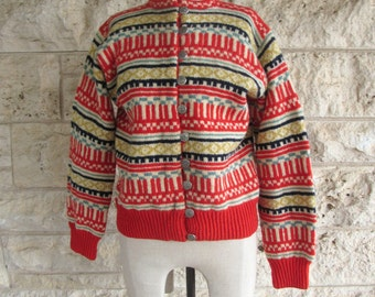 Nordic Sweater 80's Wool Cardigan Sweater Vintage Red Norwegian Sweater Small or XS Cardigan