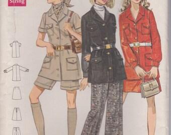 70s Safari Jacket, Shorts, Pants & Skirt Pattern Butterick 5430 Size 16