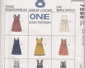 Girls Jumper & Jumpsuit Pattern McCalls 7598 Sizes 10 12 14 Uncut