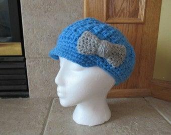 Newsboy Hat, Crochet Newsboy Hat, Knit newsboy cap,  Womens Hat, bow, light blue, sky, pastel, gray
