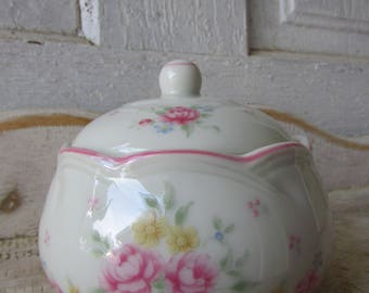 Romantic small size sugar bowl with lid made in Japan