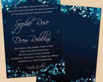 Midnight Blue Night Sky Wedding Invitation (5x7, Portrait): Text-Editable in Microsoft® Word, Printable Instant Download
